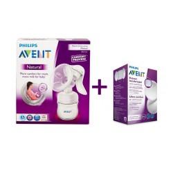 Philips AVENT Механична помпа за изцеждане на кърма Comfort + еднократни подплънки за кърма 24